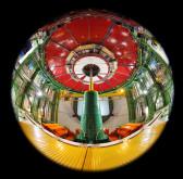 The Art of Science CMS, Kernforschung Teilchenphysik, CMS, CERN, Genf, Schweiz; Blick nach oben auf das LHC-Strahlrohr, das im CMS-Experiment verschwindet.